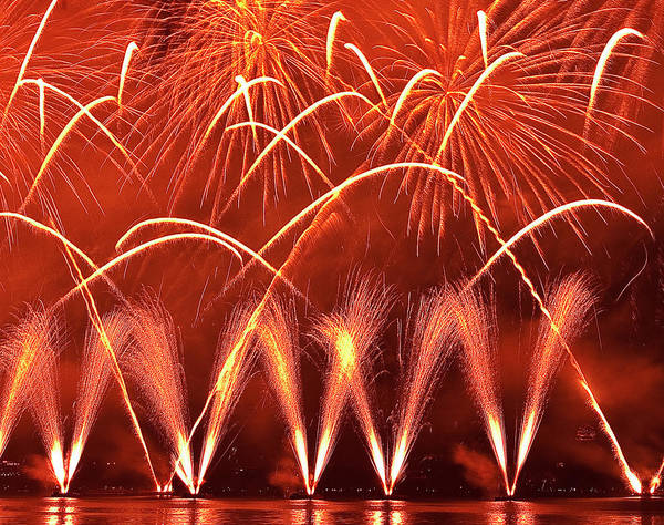 Fireworks Display Wall Art - Photograph - Fireworks Over West Lake, Hangzhou by William Yu Photography