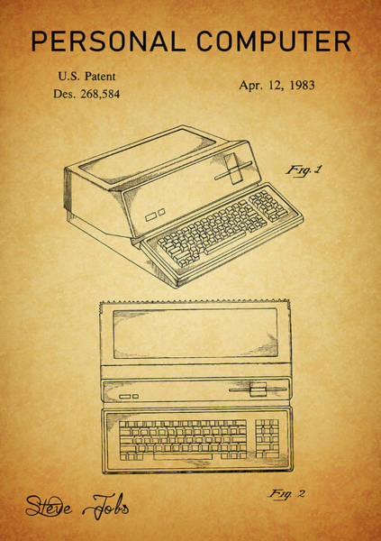 Drawing - First Apple Computer Patent by Dan Sproul