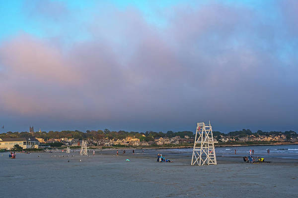 Photograph - First Beach Sunset Newport Ri Rhode Island Red Sky Lifeguard Chairs by Toby McGuire