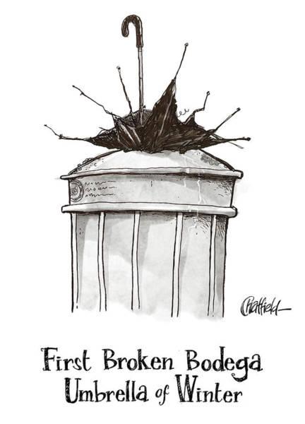 Trash Drawing - First Broken Bodega Umbrella Of Winter by Jason Chatfield