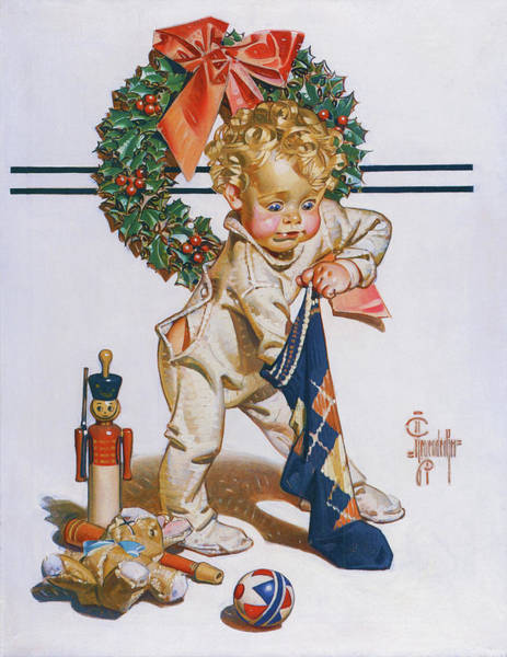Wall Art - Painting - First Christmas - Digital Remastered Edition by Joseph Christian Leyendecker