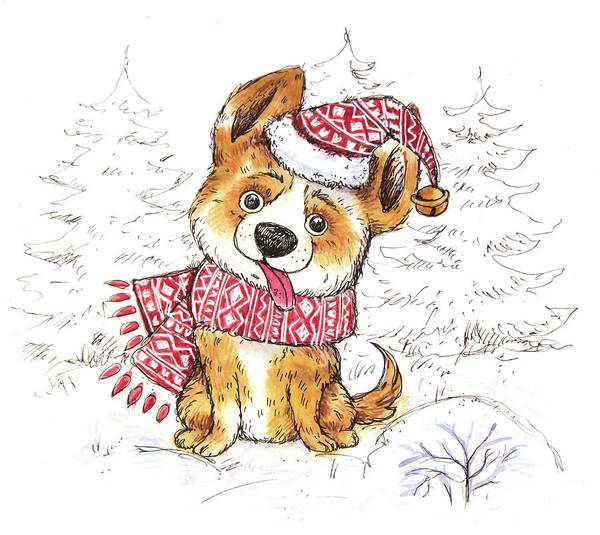 Trimming Painting - First Christmas - Dog - Snow by Ema Malyauka