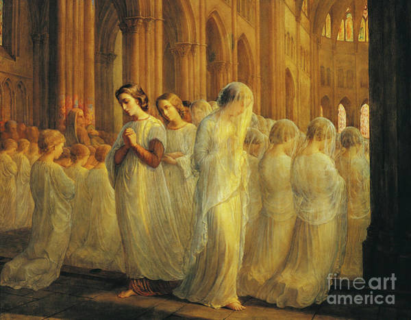 Sacrament Wall Art - Painting - First Communion By Janmot by Louis Janmot