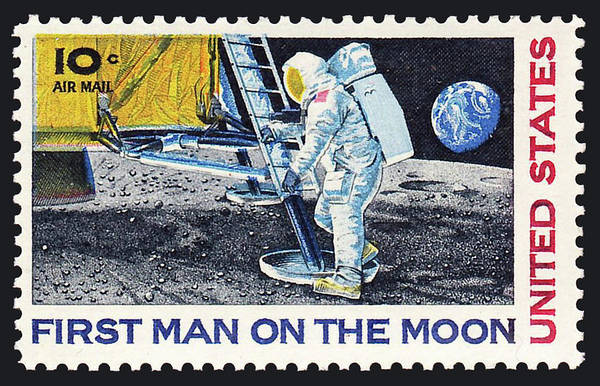 Wall Art - Photograph - First Man On The Moon Stamp, 1969 by Science Source