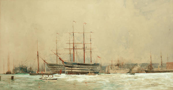Wall Art - Painting - First-rates At Portsmouth by Charles Edward Dixon