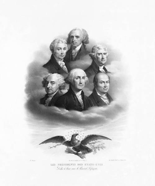 Wall Art - Drawing - First Six Presidents - Bald Eagle - Vintage Lithograph by War Is Hell Store