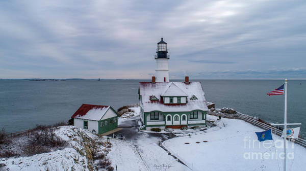 Photograph - First Snow At Portland Head Lighthouse by Michael Hughes