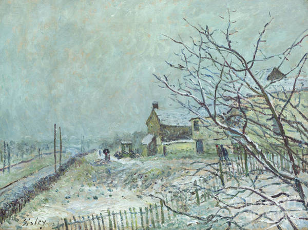 Gloomy Painting - First Snow At Veneux Nadon, 1878 by Alfred Sisley
