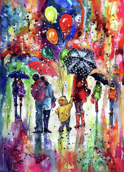 Wall Art - Painting - First Snow In Happy Day by Kovacs Anna Brigitta