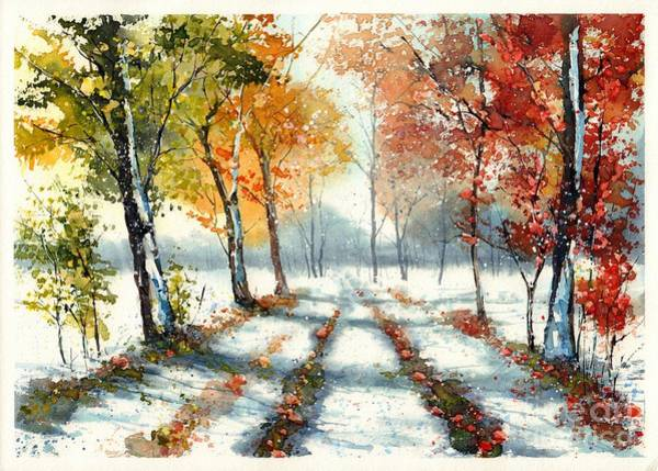 Birches Painting - First Snow by Suzann's Art