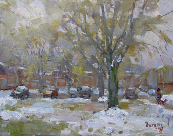Wall Art - Painting - First Snowfall  November 2018 by Ylli Haruni