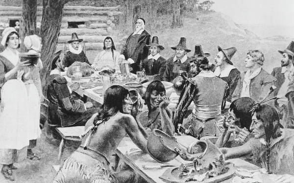 Indigenous People Photograph - First Thanksgiving by Frederic Lewis