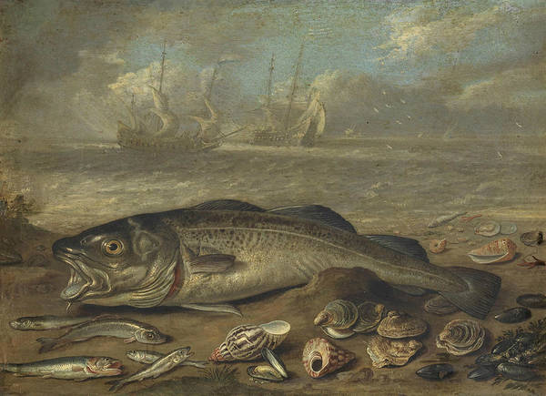 Painting - Fish And Marine Landscape by Jan van Kessel the Elder