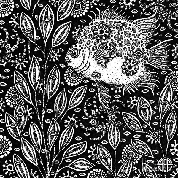 Drawing - Fish Botanical Ink 1 by Amy E Fraser