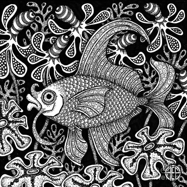 Drawing - Fish Botanical Ink 2 by Amy E Fraser