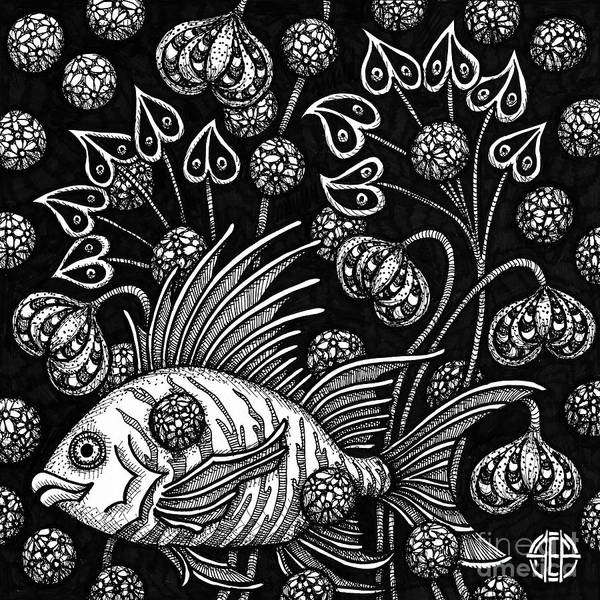 Drawing - Fish Botanical Ink 3 by Amy E Fraser