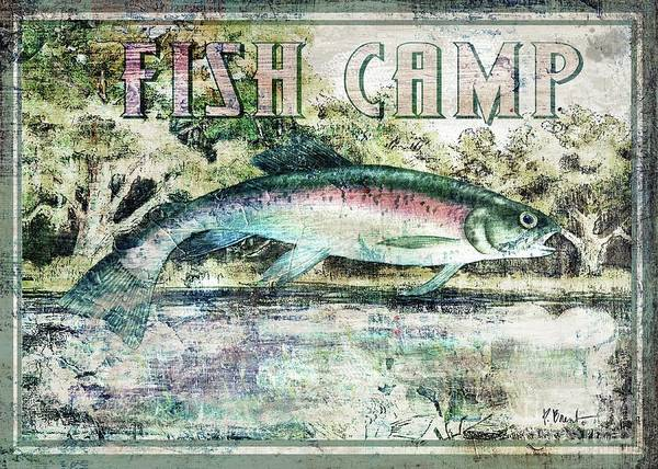 Trout Watercolor Wall Art - Painting - Fish Camp - Trout by Paul Brent