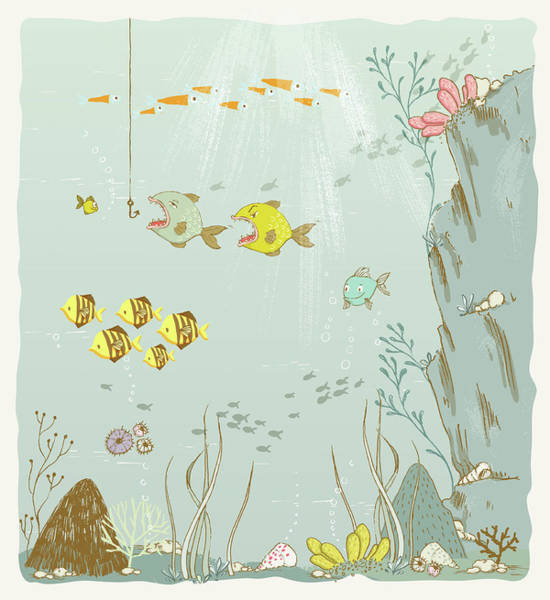 Painting - Fish In The Ocean Whimsical Art For Kids by Matthias Hauser