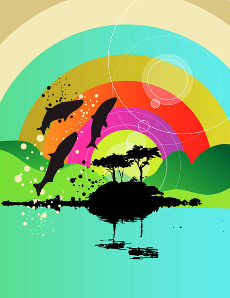 Wall Art - Digital Art - Fish Jumping Out Of Lake With Rainbow by New Vision Technologies Inc