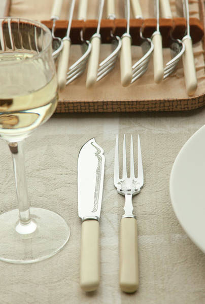 Setting Photograph - Fish Knife And Fork Set At Table Setting by Bill Boch