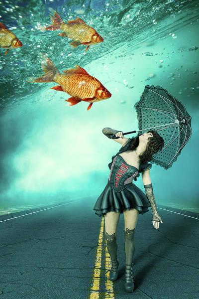 Apparition Digital Art - Fish Rain by Mihaela Pater