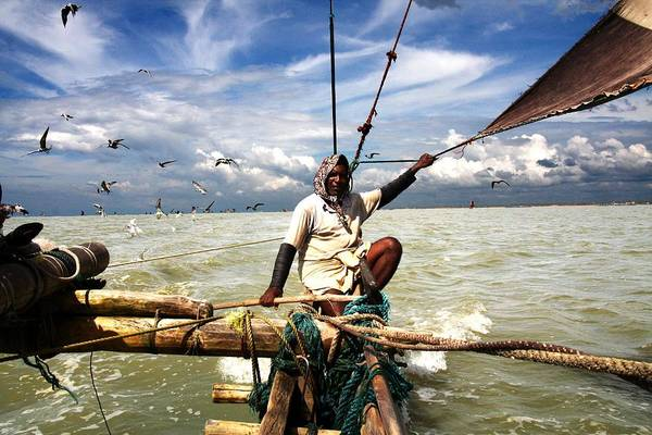 Outrigger Canoe Photograph - Fish Village  Traditional Shrimp by Guillaume Collet