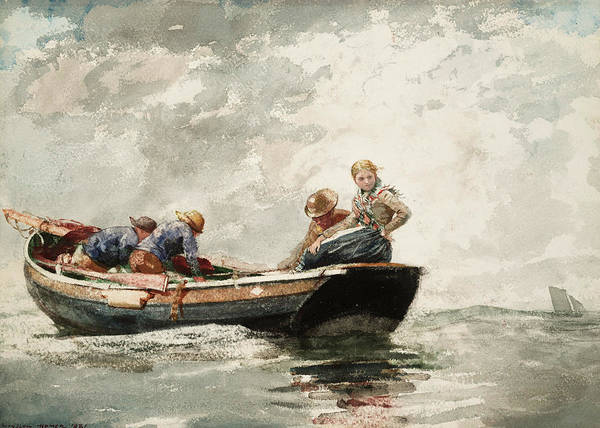 Wall Art - Painting - Fisher Folk In A Dory, 1881 by Winslow Homer