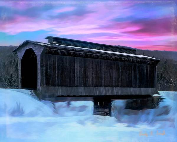 Digital Art - Fisher Raiilroad Covered Bridge Wolcott Vermont. by Rusty R Smith