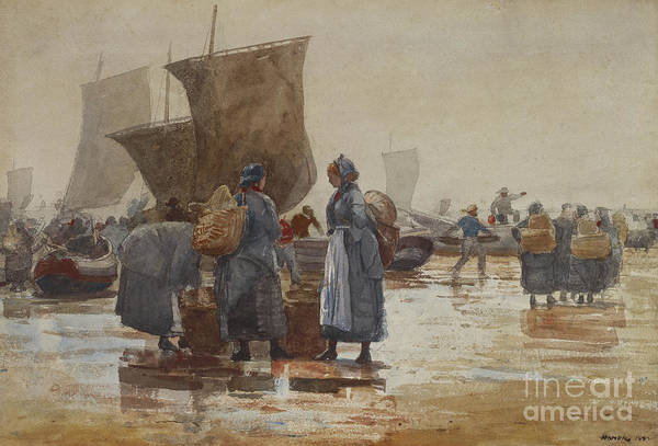 Wall Art - Painting - Fisherfolk On The Beach At Cullercoats, 1881 by Winslow Homer