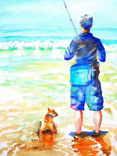 Painting - Fisherman And Dog At The Beach by Carlin Blahnik CarlinArtWatercolor
