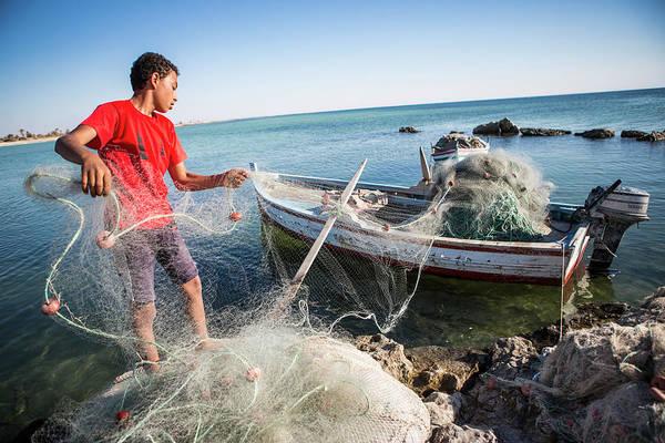 Tunisia Wall Art - Photograph - Fisherman, Djerba Tunisia by Tim E White