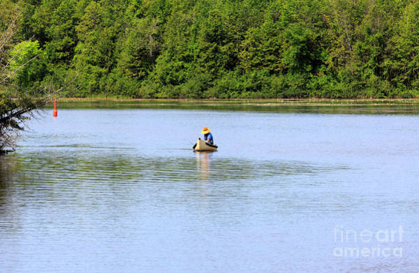 Wall Art - Photograph - Fisherman In A Traditional Canoe On The Trent Severn Waterway by Louise Heusinkveld