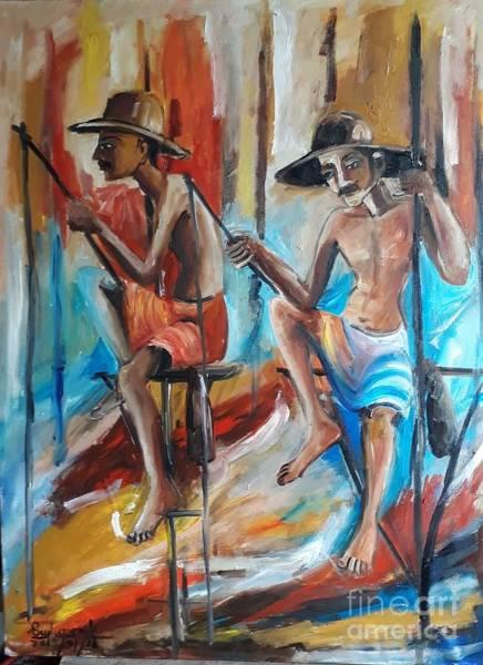 Wall Art - Painting - Fisherman Life  by Sudumenike Wijesooriya