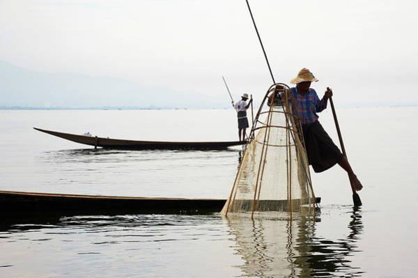 Oar Photograph - Fisherman On Inle Lake, Shan State by Tuul / Robertharding