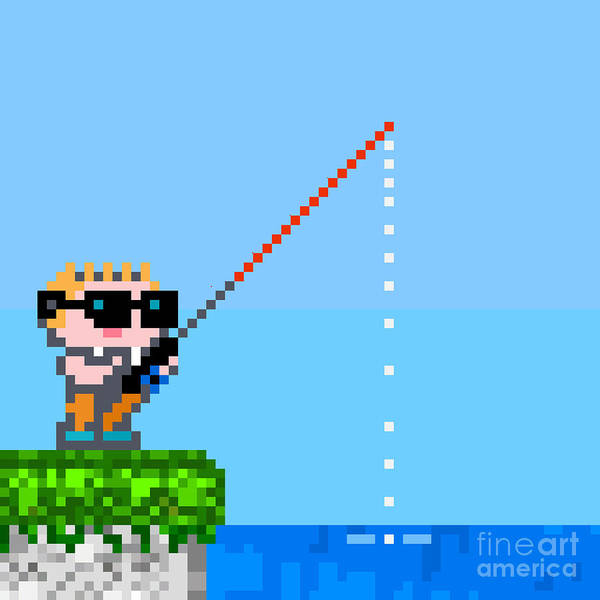 Wall Art - Digital Art - Fisherman. Pixel Character In by Mw2st