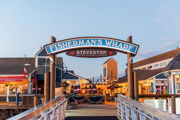 Wall Art - Photograph - Fisherman S Wharf At The Port Area Steveston Harbour Vancouver British Columbia Canada by imageBROKER - Moritz Wolf