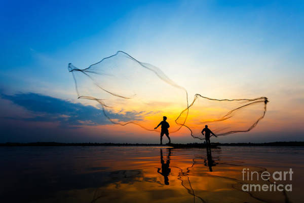 Myanmar Wall Art - Photograph - Fishermans In Action When Fishing At by Twstock