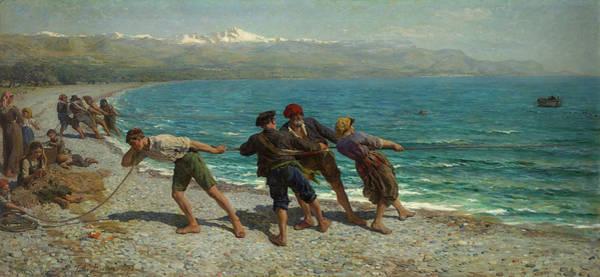 Wall Art - Painting - Fishermen At Menton, 1878 by Jules Breton