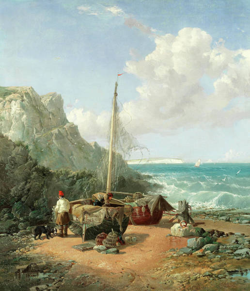 Wall Art - Painting - Fishermen Drying Their Nets On The Shore by James Webb