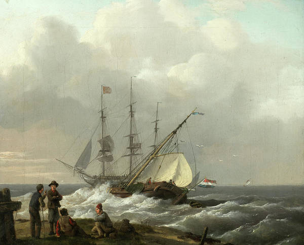 Beyond Painting - Fishermen On The Shore With Ships Setting Sail Beyond by Dutch School