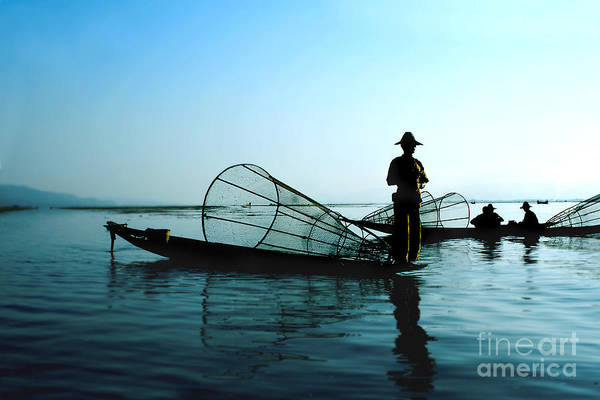 Myanmar Wall Art - Photograph - Fishermen On Water by Elena Yakusheva