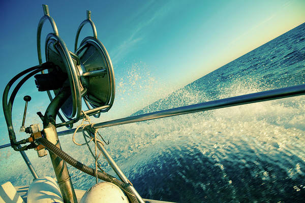 Fishing Tackle Photograph - Fishermen Trawler Full Speed On Waves by Piola666