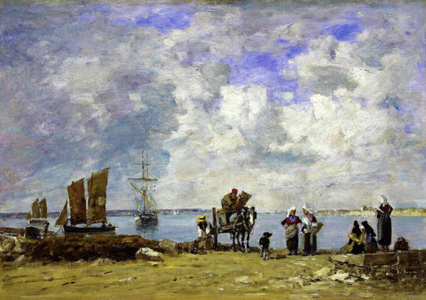 Wall Art - Painting - Fishermens Wives At The Seaside - Digital Remastered Edition by Eugene Louis Boudin