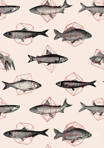 Wall Art - Digital Art - Fishes In Geometrics by Florent Bodart