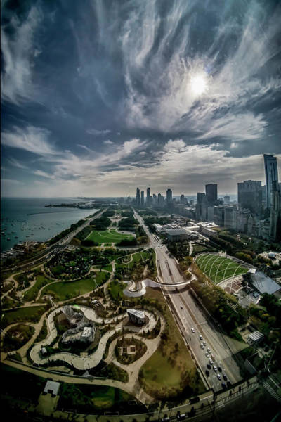 Photograph - fisheye view of Chicago from the 30th floor by Sven Brogren