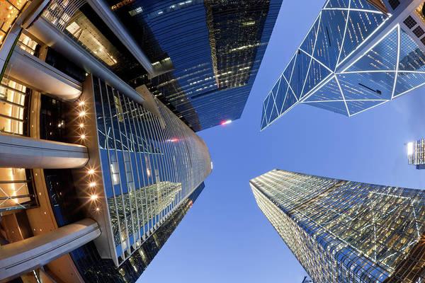 Financial Centre Photograph - Fisheye View Of Hong Kong Skyscrapers by Winhorse