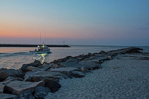 Photograph - Fishing Boat Heading Off From Green Harbot Beach Marshfield Ma At Sunrise by Toby McGuire