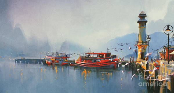 Vessel Wall Art - Digital Art - Fishing Boat In Harbor At by Tithi Luadthong