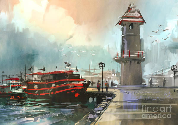 Wall Art - Digital Art - Fishing Boat In Harbor,digital by Tithi Luadthong