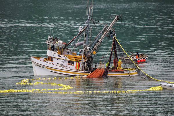 Wall Art - Photograph - Fishing Boat Pulling In Nets  by Edward Garey